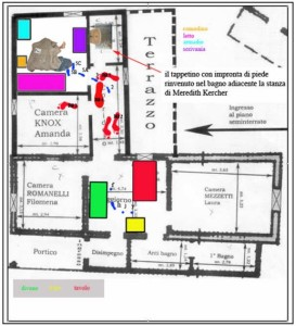 Murder of Meredith Kercher footprint map from the Amanda Knox cottage