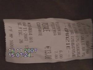 Raffaele Sollecito apartment Pizza receipt